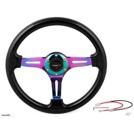 RyanStar Black & Neochrome Steering Wheel 14 INCH